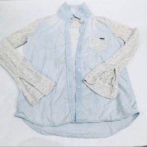 Roxy Lace Crochet Button Up Chambray Shirt Small